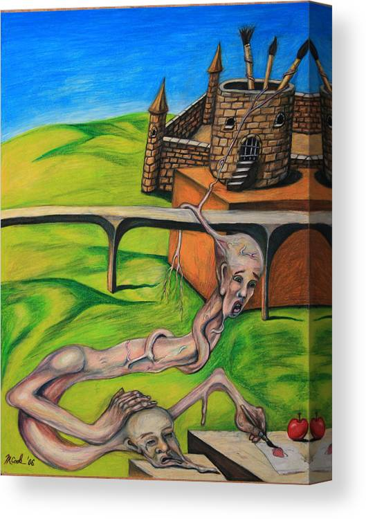 Surreal Conjoined Twins Landscape Canvas Print featuring the drawing If I Can See It I Can Draw It by Michael Cook