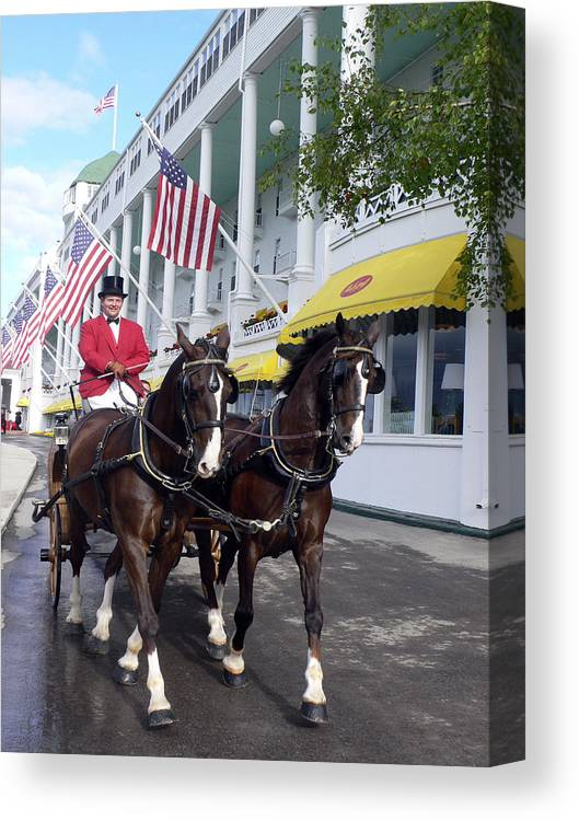 Horses Canvas Print featuring the photograph In The Grand Mackinac Manner by Charles Ridgway