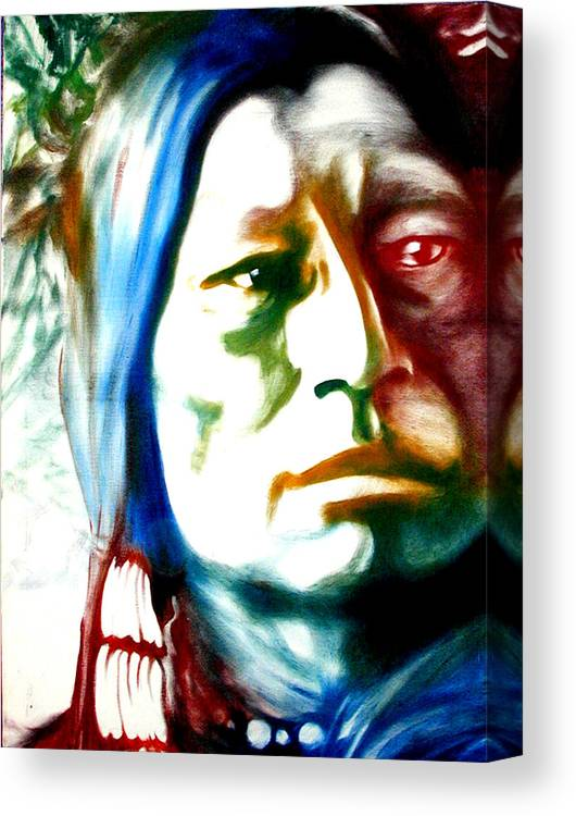 Portrait Canvas Print featuring the painting Indian 1 by Scott Robinson