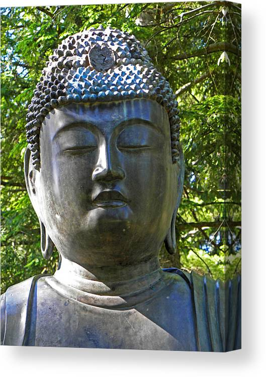 Statue Canvas Print featuring the photograph Japanese Buddha by Elizabeth Hoskinson