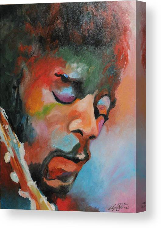 Portrait Canvas Print featuring the painting Jimi Hendrix At Monterrey by Angelo Thomas