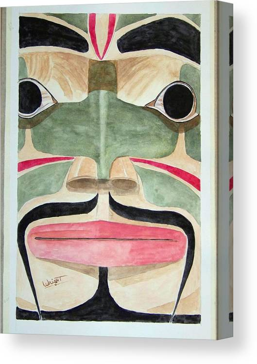 Totem Figure Canvas Print featuring the painting Ketchikan Native by Larry Wright