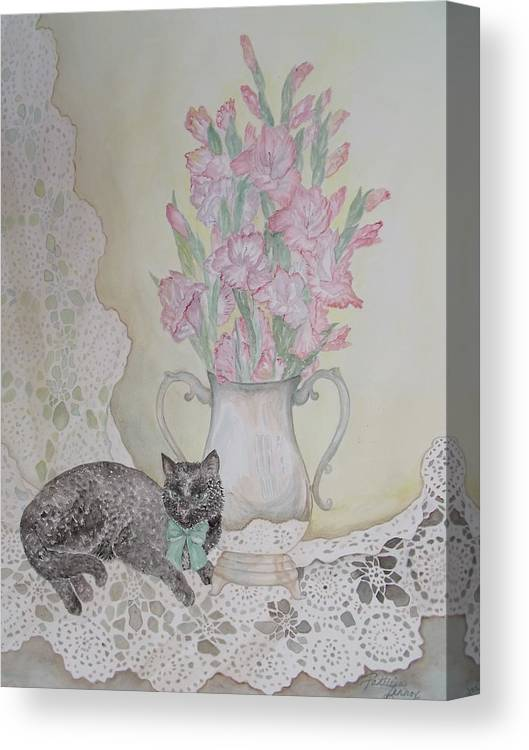 Lace Canvas Print featuring the painting Lace With Stirling Silver by Patti Lennox