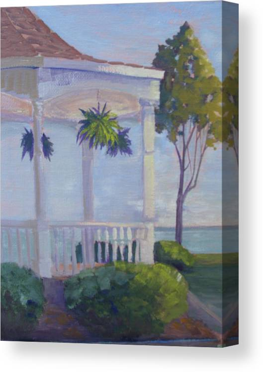 Landscape Canvas Print featuring the painting Lakeside Solitude by Judy Fischer Walton