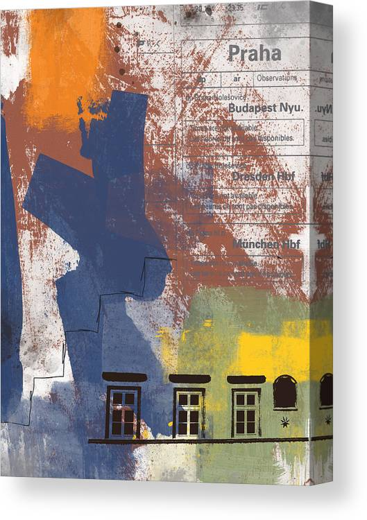Prague Canvas Print featuring the mixed media Last Train To Prague- Art By Linda Woods by Linda Woods