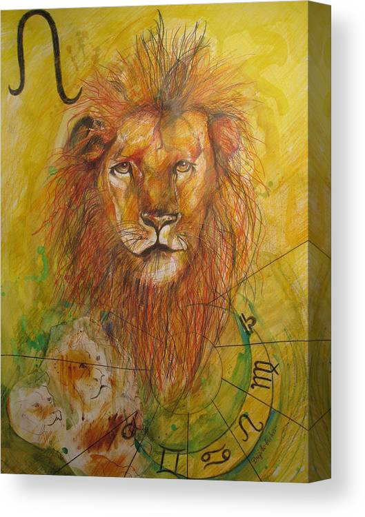 Drawing Canvas Print featuring the drawing LEO by Brigitte Hintner