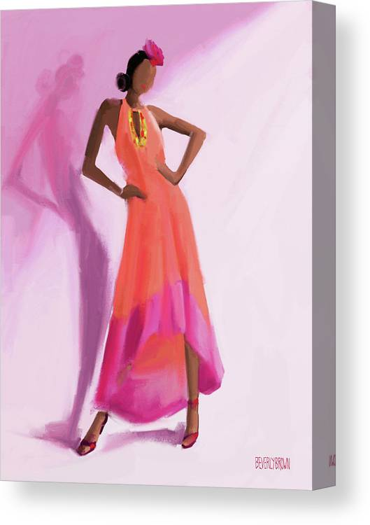Fashion Canvas Print featuring the painting Long Orange And Pink Dress Fashion Illustration Art Print by Beverly Brown