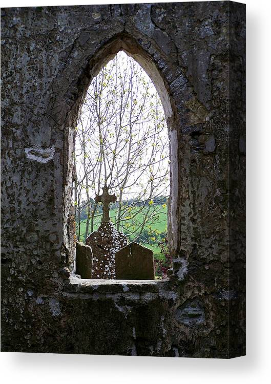 Ireland Canvas Print featuring the photograph Looking Out Fuerty Church Roscommon Ireland by Teresa Mucha