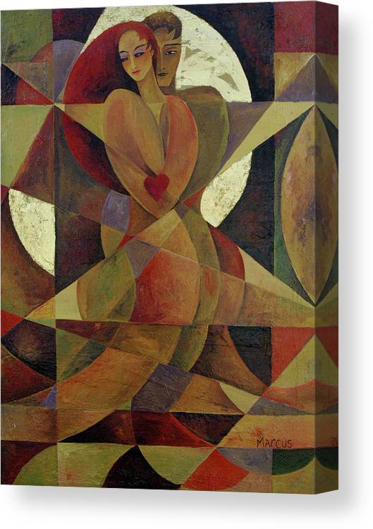 Love. Lovers Canvas Print featuring the painting Love Light 1 by Leslie Marcus