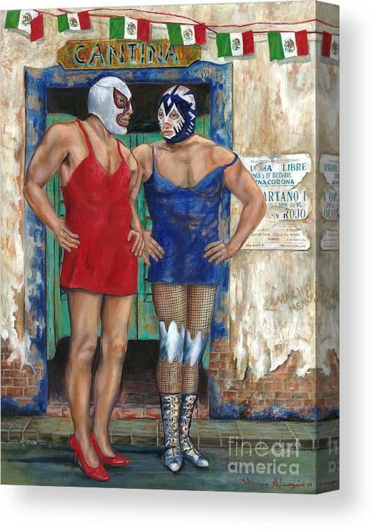 Macho Canvas Print featuring the painting Macho Menos by Nancy Almazan