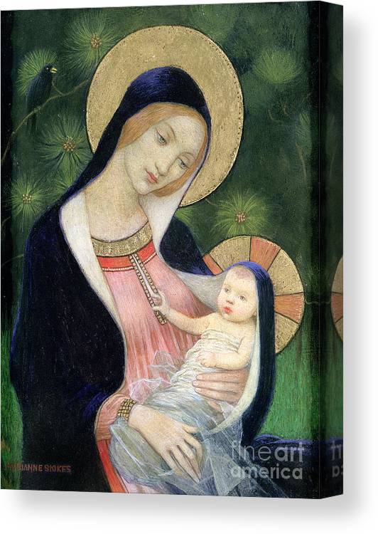 Madonna Of The Fir Tree Canvas Print featuring the painting Madonna Of The Fir Tree by Marianne Stokes