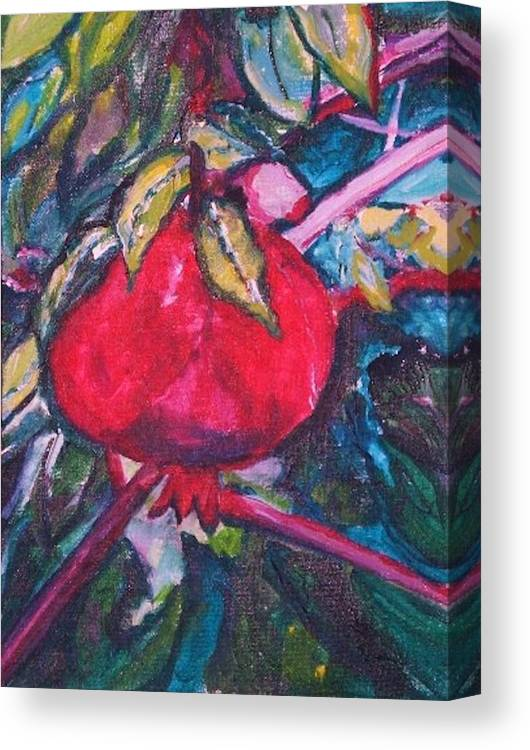 Melograno Canvas Print featuring the painting Melograno by Helena Bebirian