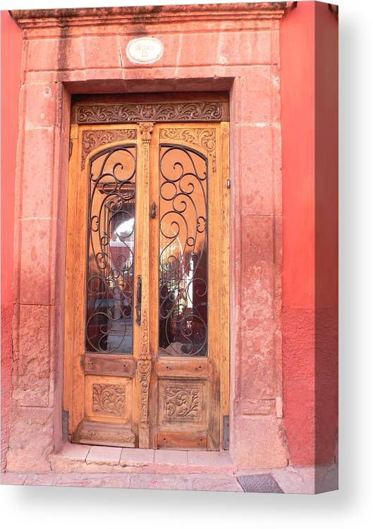 Mexico Canvas Print featuring the photograph Mexican Doorway 2 by Francine Gourguechon