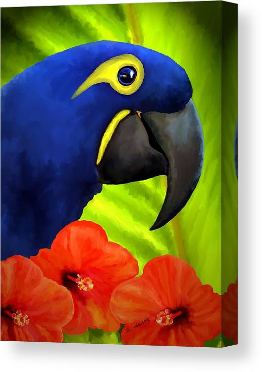 Hyacinth Macaw Canvas Print featuring the painting Mimi by David Wagner