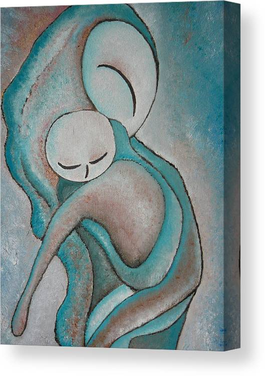 Motherhood Painting Canvas Print featuring the painting Motherhood Painting My Baby Original Oil By Gioia Albano by Gioia Albano