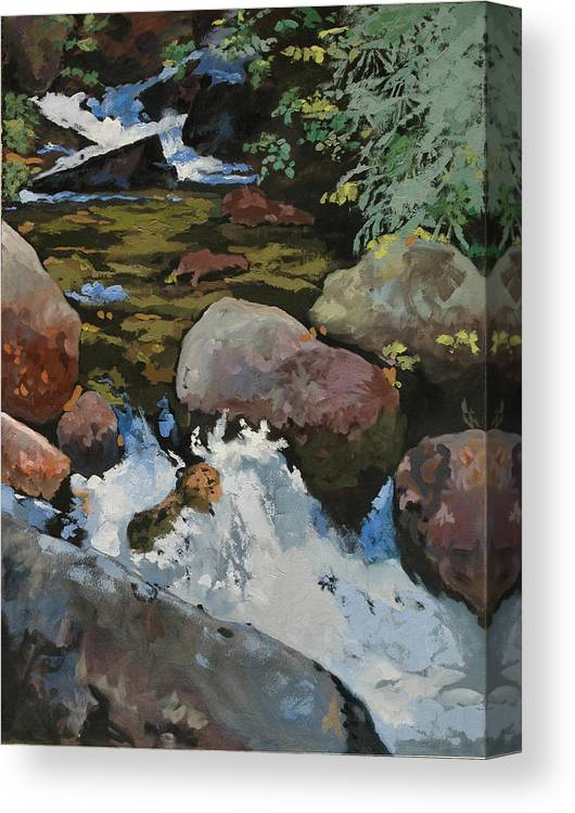 Creek Canvas Print featuring the painting Mountain Stream by Robert Bissett
