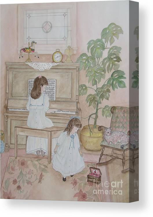 Sisters Canvas Print featuring the painting Music Box Dancer by Patti Lennox