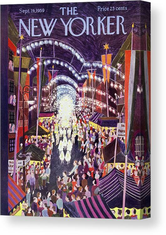 Procession Canvas Print featuring the painting New Yorker September 19 1959 by Ilonka Karasz