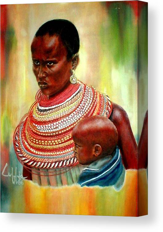 Maasai Canvas Print featuring the painting Not My Son by G Cuffia