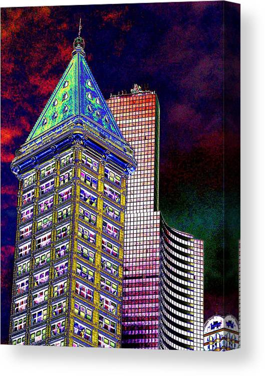 Seattle Canvas Print featuring the photograph Old And New Seattle 2 by Tim Allen