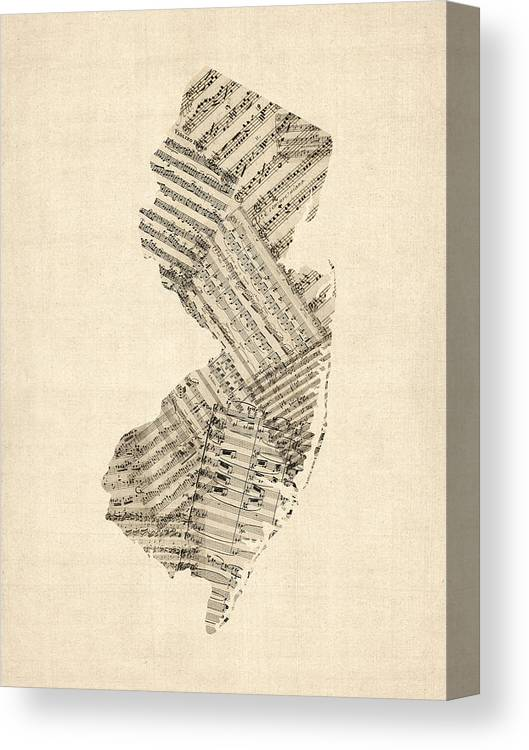 New Jersey Canvas Print featuring the digital art Old Sheet Music Map Of New Jersey by Michael Tompsett