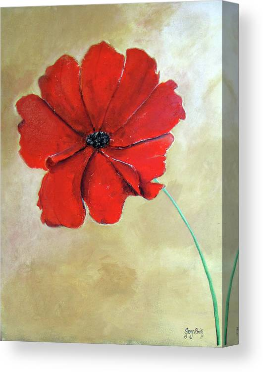 Poppy Canvas Print featuring the painting One Poppy by Gary Smith