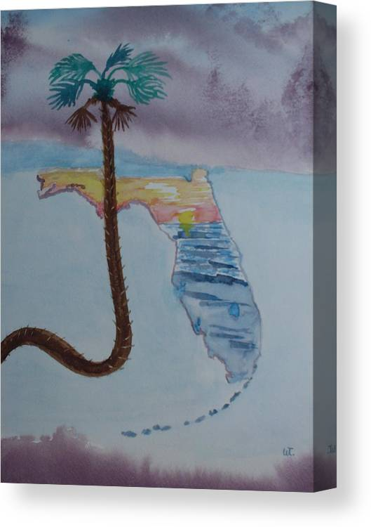 Landscape Watercolor Palm Tree Canvas Print featuring the painting Palm Over Florida by Warren Thompson