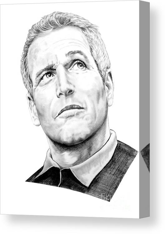 Paul Newman Canvas Print featuring the drawing Paul Newman by Murphy Elliott