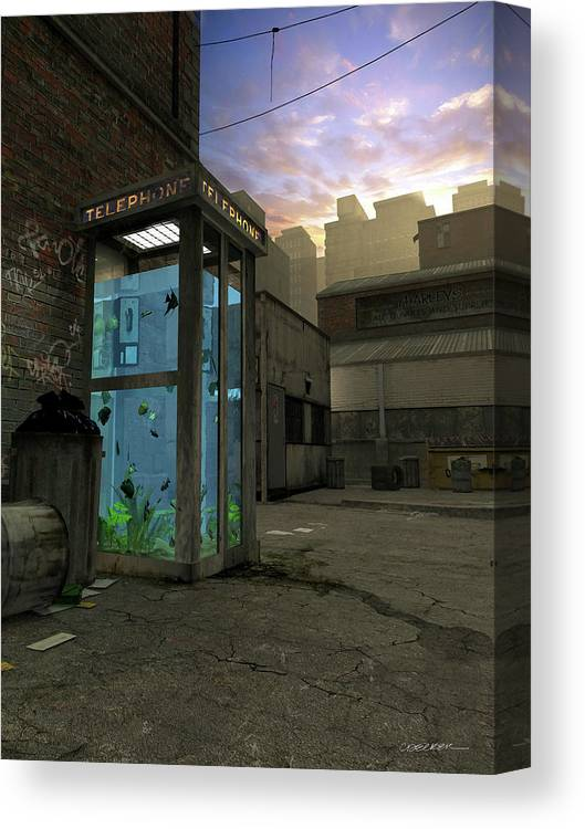 Telephone Canvas Print featuring the digital art Phone Booth by Cynthia Decker