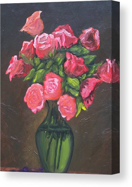 Canvas Print featuring the painting Pink Roses And Vase by Charles Vaughn