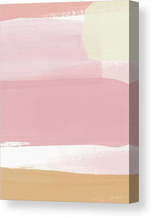 Stripe Canvas Print featuring the mixed media Pink Sunset Stripe 1- Art By Linda Woods by Linda Woods