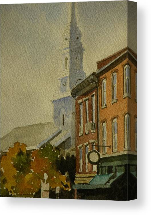 Walt Maes Canvas Print featuring the painting Portsmouth North Church Tower by Walt Maes