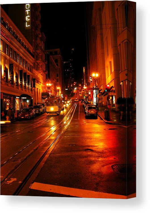 Architecture Canvas Print featuring the photograph Powell Street Rain by C Thomas Cooney