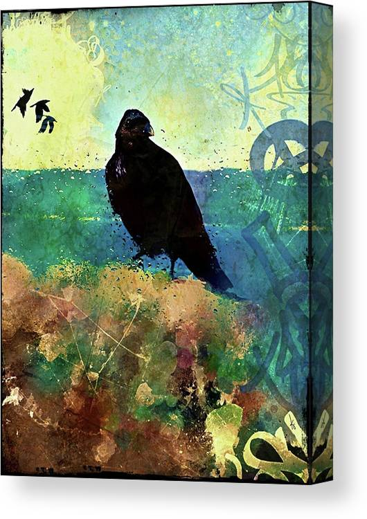 Canvas Print featuring the digital art Raven by Krista Droop