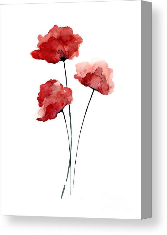 Red Canvas Print featuring the painting Red Poppies Minimalist Painting by Joanna Szmerdt