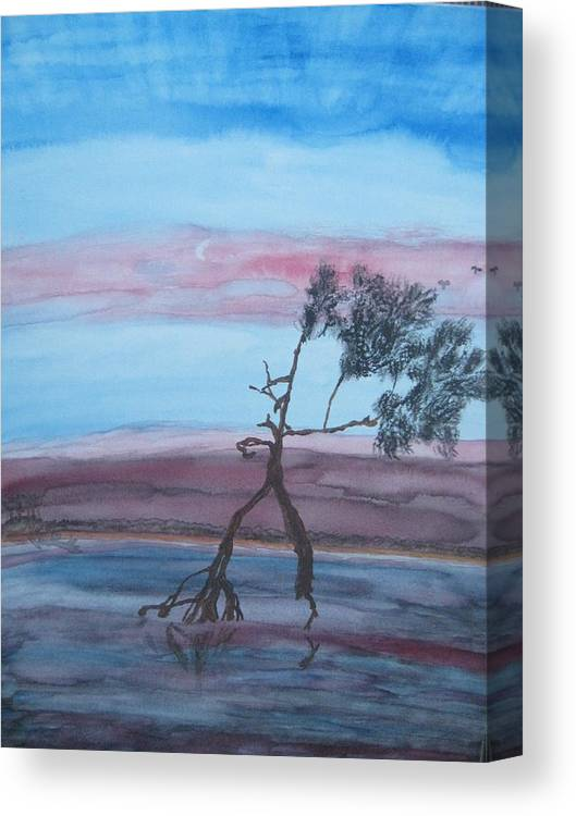 Landscape Acrylic Water Tree Canvas Print featuring the painting Reflections by Warren Thompson