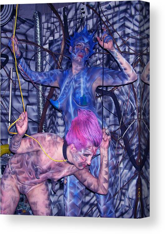 Body Paint Canvas Print featuring the painting Robotic Blues by Leigh Odom