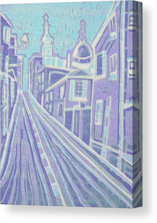 Original Paintings Canvas Print featuring the painting Romantic Town In Blue by Monica Smith