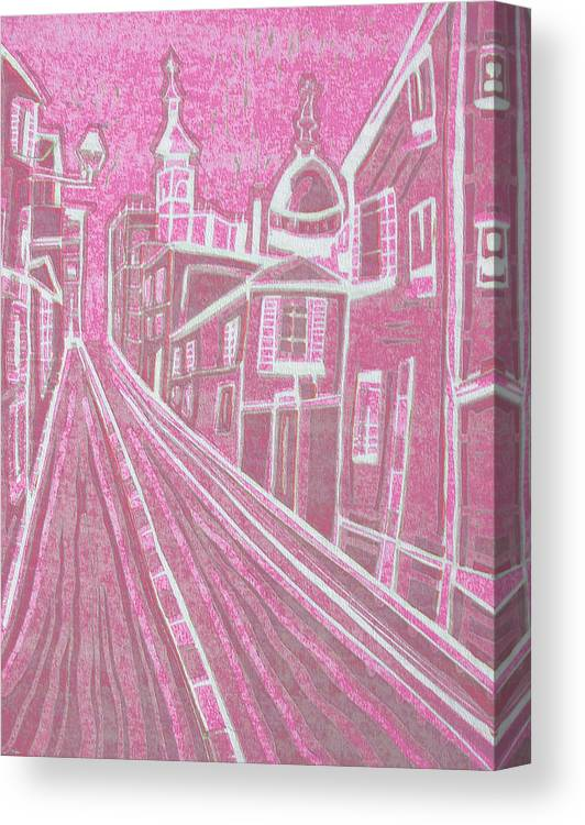 Original Paintings Canvas Print featuring the painting Romantic Town In Red by Monica Smith