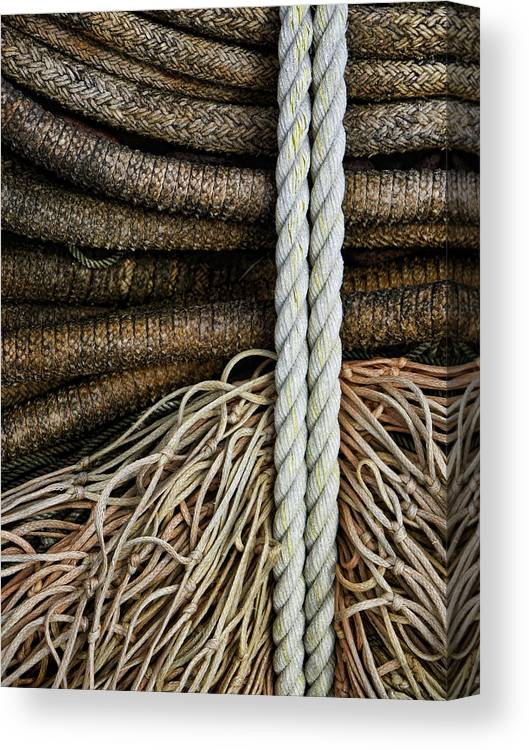 Fishing Canvas Print featuring the photograph Ropes And Fishing Nets by Carol Leigh