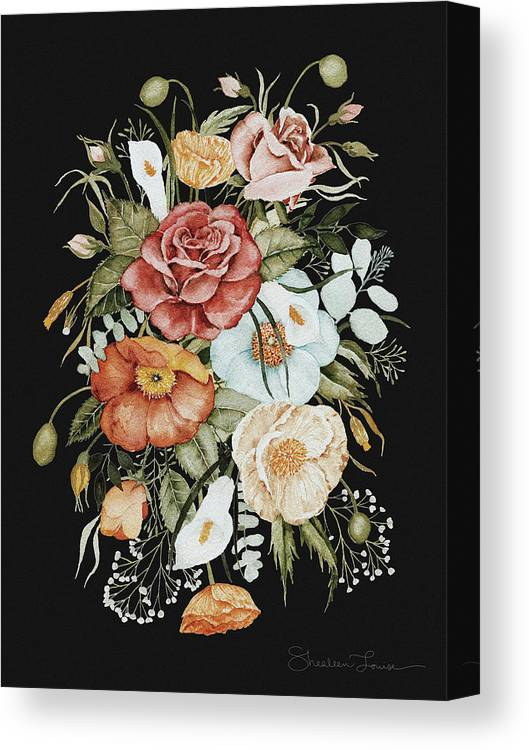 Florals Canvas Print featuring the painting Roses And Poppies Bouquet by Shealeen Louise