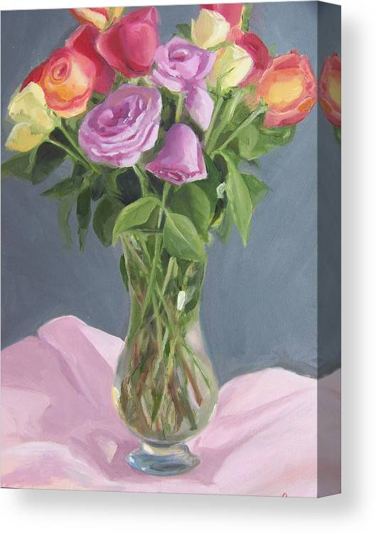 Roses Canvas Print featuring the painting Roses From Life by Georgeanne Wayman
