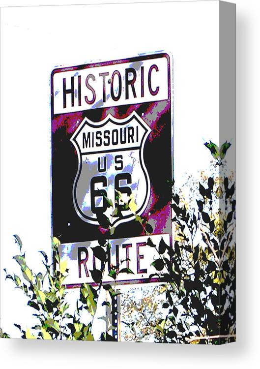 Car Canvas Print featuring the photograph Route 66 2 by Audrey Venute