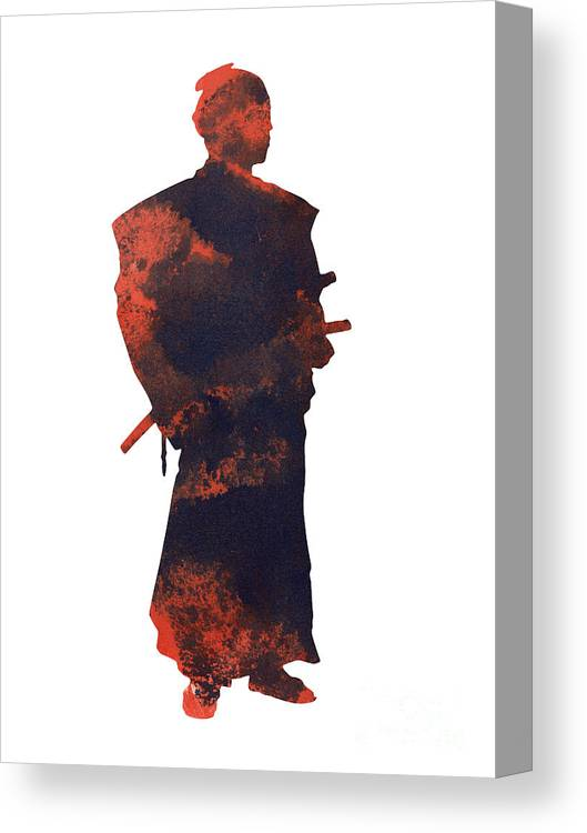 Samurai Canvas Print Featuring The Painting Samurai Artwork Kids Room Decor  By Joanna Szmerdt