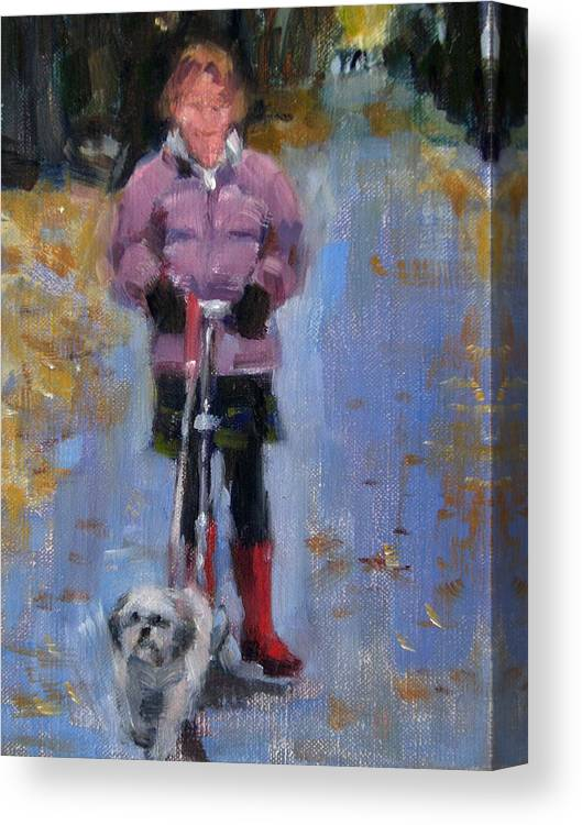 Child Canvas Print featuring the painting Scooting Down The Street by Merle Keller