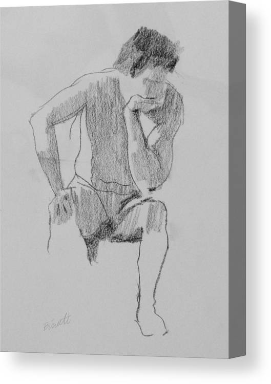 Life Canvas Print featuring the drawing Seated Nude 3 by Robert Bissett