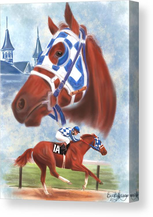 Secretariat Canvas Print featuring the drawing Secretariat Racehorse Portrait by Becky Herrera
