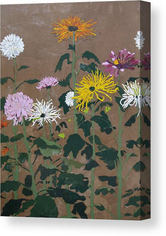 Collage Canvas Print featuring the painting Smith's Giant Chrysanthemums by Leah Tomaino