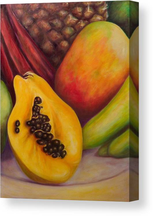 Tropical Fruit Still Life: Mangoes Canvas Print featuring the painting Solo by Shannon Grissom