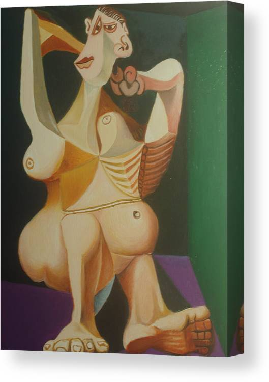 Nude . Abstract . Picasso . Picasso . Lady . Nude Lady. Nude Woman . Body . Language . Canvas Print featuring the painting study after Picasso lady dressing her hair by Ibrahim Rahma